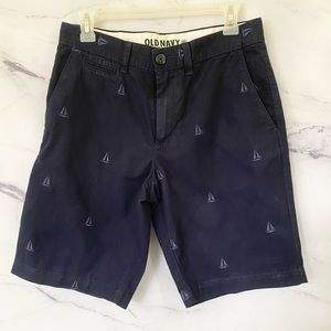 Men's Nautical Allover Sailboat Embroidered Shorts OLD NAVY